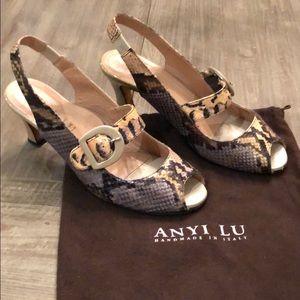 Anyi Lu Tulip Mary Jane snake skin slingback shoes